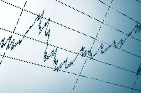 desarrollo econ�mico: gr�fico de valores financieros o gr�fico en la pantalla de un monitor