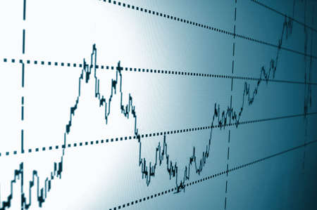 stock trading: financial graph or stock chart on screen of a display Stock Photo