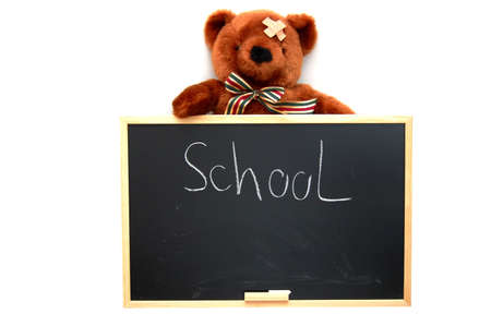 teddy with blackboard isolated on white background Stock Photo - 4861947