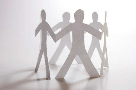 paper man showing concept for business teamwork and love Stock Photo - 4902787