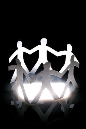 paper man showing teamwork help love and social networking Stock Photo - 4927363