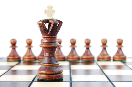 marketshare: chess pieces on chess board showing concept for success and power