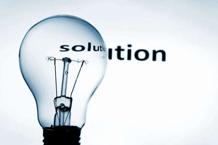 problems solutions: bulb showing concept of business problems and success Stock Photo