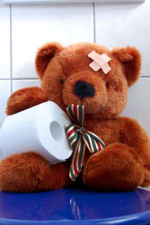 toy toilet bowl: toy teddy bear with paper in the bathroom on toilet