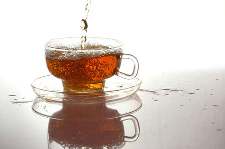 cup of tea with reflection and copyspace photo