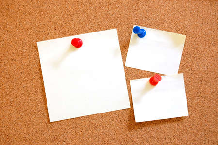 blank and empty sheet paper with pin on bulletin board  photo