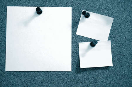 noticeboard: blank and empty sheet paper with pin on bulletin board