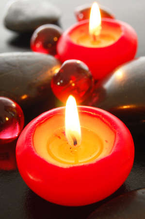 romantic candle decoration showing spa or xmas feeling                                     photo