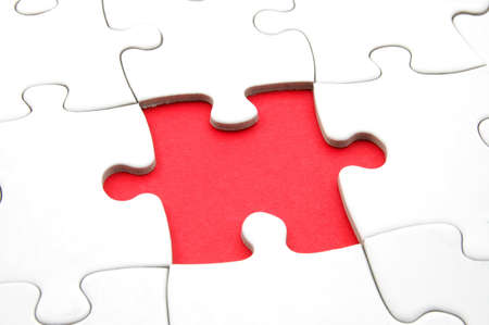 chellange: puzzle with missing piece showing concept for problem and solution