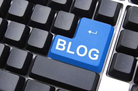 blue blog enter button on a computer keyboard Stock Photo - 5132235