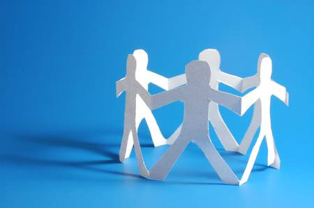 out of job: concept for friendship friends team teamwork love and help with paper man Stock Photo