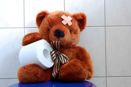 toy teddy bear with paper in the bathroom on toilet photo