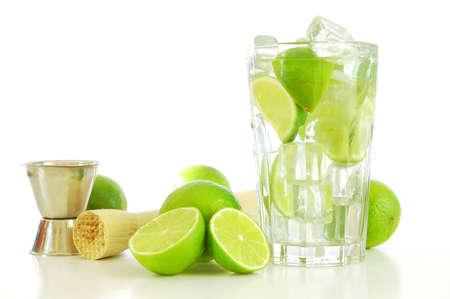 green Caipirinha cocktail drink with copyspace for text message                                     photo