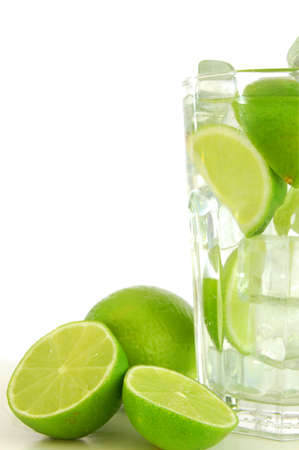 cocktail or lemonade with sliced lime fruit                                     photo