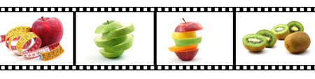 film strip with fruit collection showing healthy lifestyle photo
