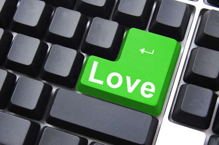 love button showing concept for online dating photo