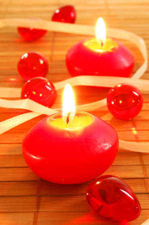 romantic red xmas candles showing christmas decoration Stock Photo - 5155779