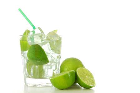 cool green Caipirinha cocktail drink with lime                                      photo
