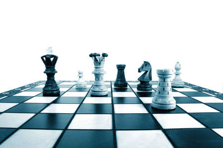 dominate: chess pieces showing concept of power strategy and success in business Stock Photo