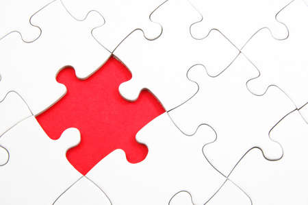 blank and white puzzle with missing piece Stock Photo - 5205592
