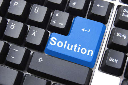 solution concept: solving a problem with solution button on computer