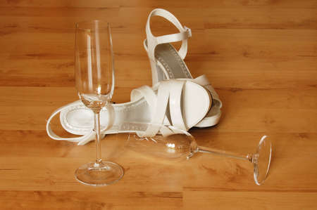 sexy high heels and champange or sparkling glass photo