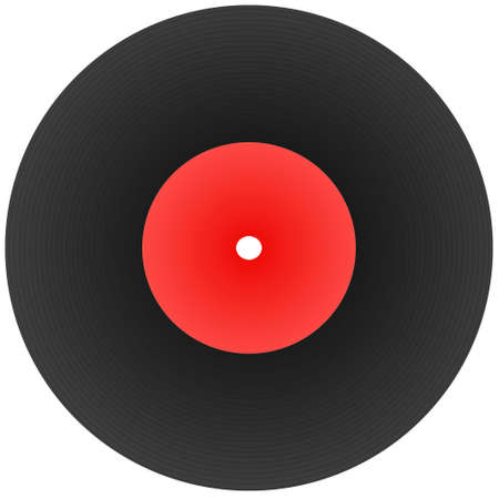 disk record for music with blank label isolated on white photo