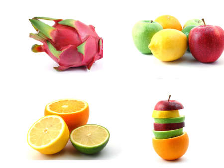 collection of sliced fruits isolated on white background photo