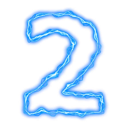 alphabet of blue lightning letters and numbers  photo
