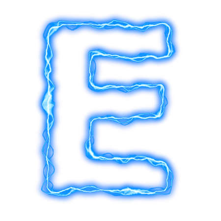 ice alphabet: alphabet of blue lightning letters and numbers