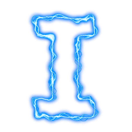 neon letter: alphabet of blue lightning letters and numbers