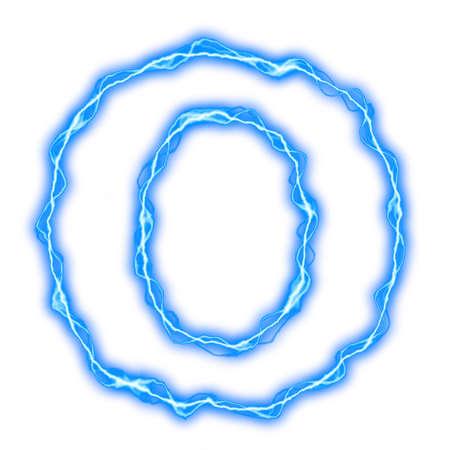rayo electrico: alfabeto de rel�mpago azul de letras y n�meros