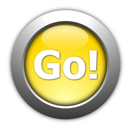 go button: glossy go or start button for internet website
