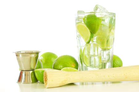 caipirinha: green Caipirinha cocktail drink with copyspace for text message