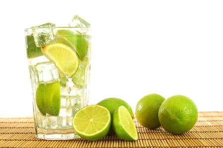 caipirinha: fresh Caipirinha with lemon on white background                                     Stock Photo