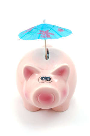lucky piggy bank and umbrella is saving business money                                  photo