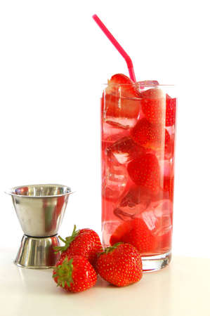 red strawberry cocktail drink in long glass                               photo