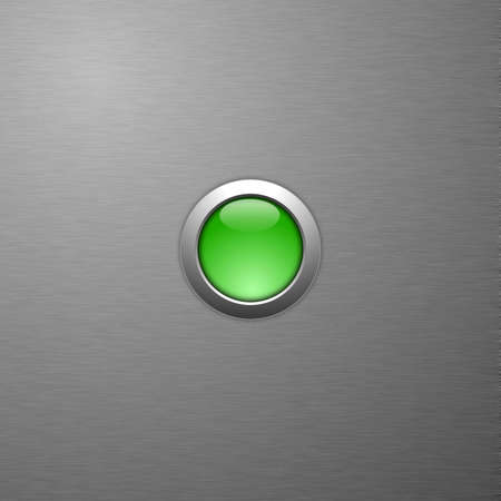 glas: green blank button with copyspace on metal surface