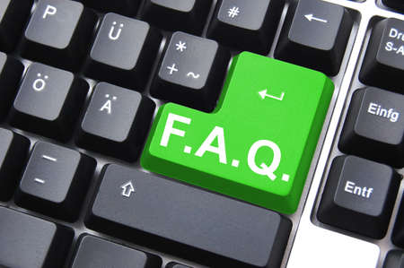 frequently: frequently asked questions or faq written on computer key