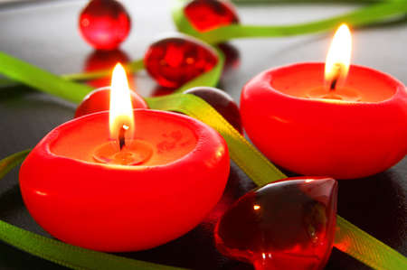 bath decoration with red candles showing spa concept                                     photo