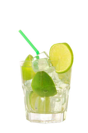 cool drink with green lime on white background                         photo