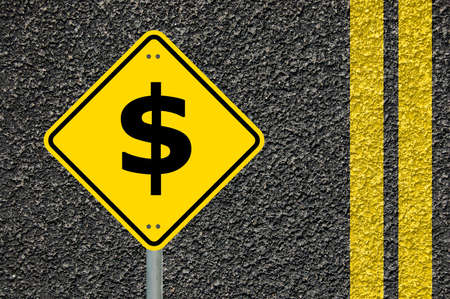 yellow road sign with dollar money symbol and copyspace                                  photo