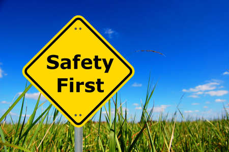 safety first sign and copyspace for text message                                     Stock Photo - 5550475