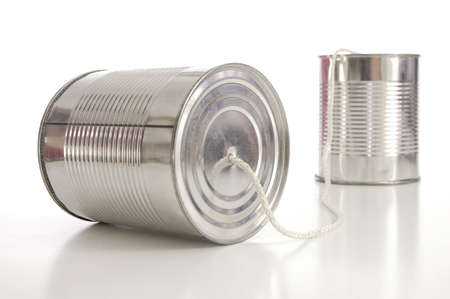 tin: ton can phone showing business communication concept                                     Stock Photo