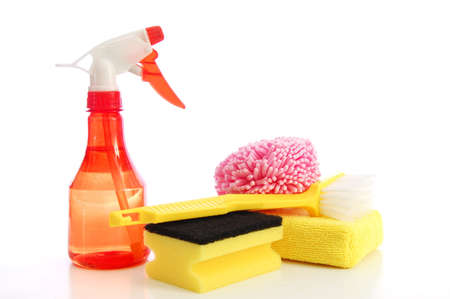 cleaning supplies isolated on a white background Stock Photo - 5565080