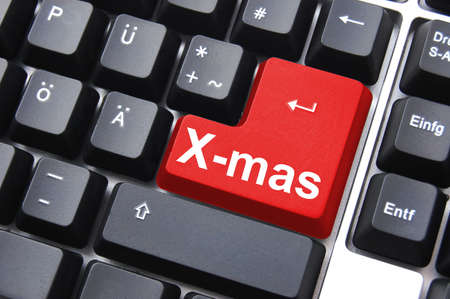 xmas or christmas holiday enter key from computer keyboard Stock Photo - 5565064