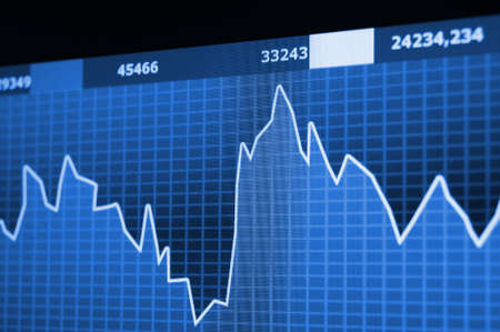chart diagram or graph from the stock market on computer screen                                     photo