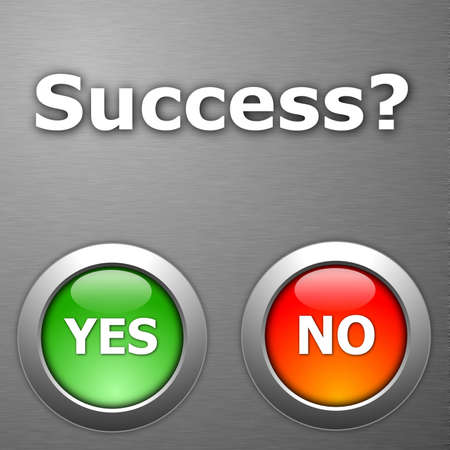 success and yes no botton on metal Stock Photo - 5587794