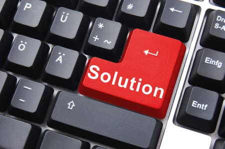 コンピューター上でソリューション ボタンで問題の解決 写真素材