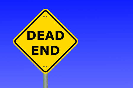 disallow: dead end road traffic sign with copyspace for text message